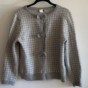 JCrew Bow Houndstooth Cardigan Wool Cashmere Blend